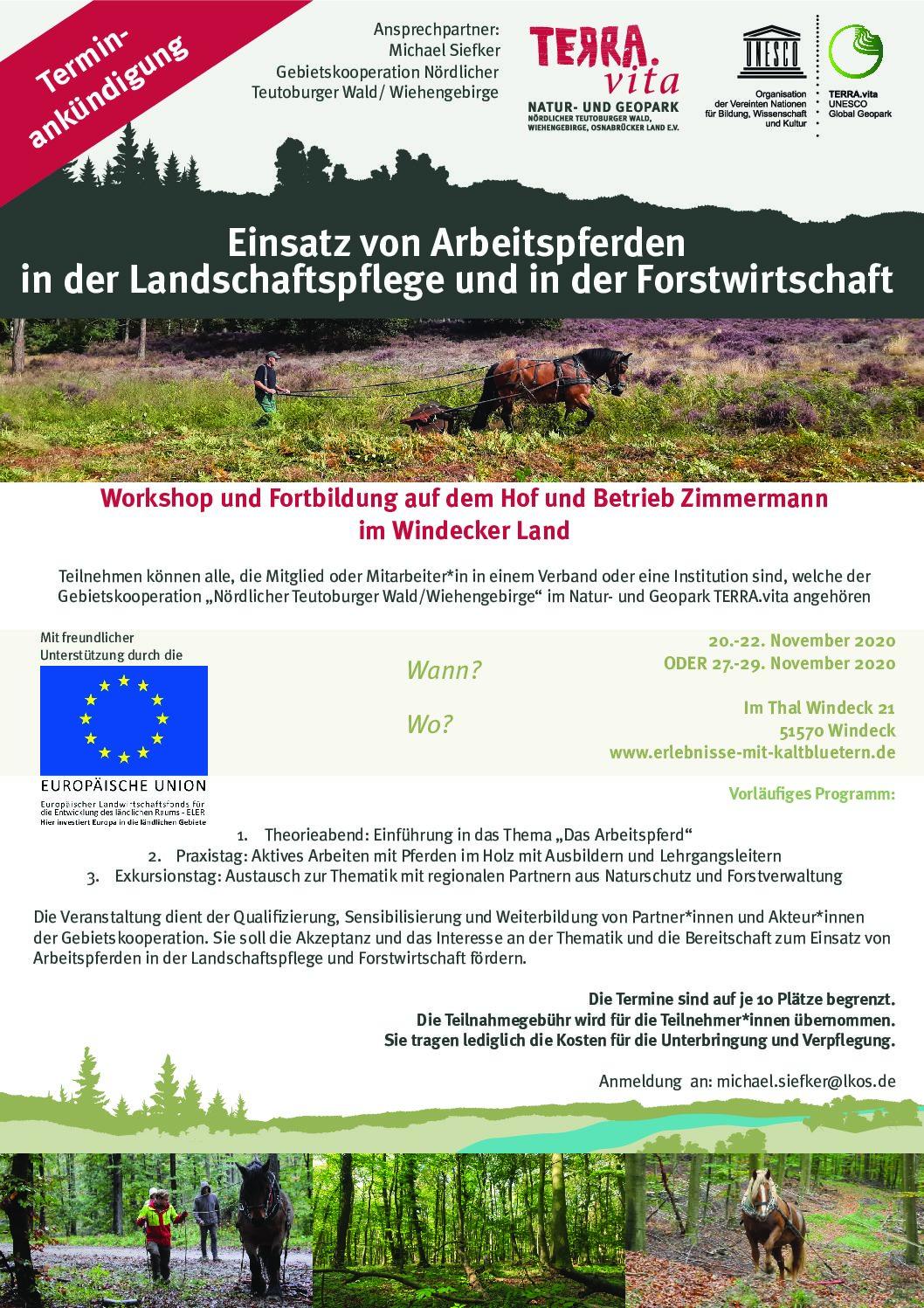 Ankündigung Workshop: Arbeitspferde in land-/forstwirschaft und Landschaftspflege